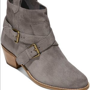 Cole Haan Gray Buckle Suede Ankle Booties NEW 7.5